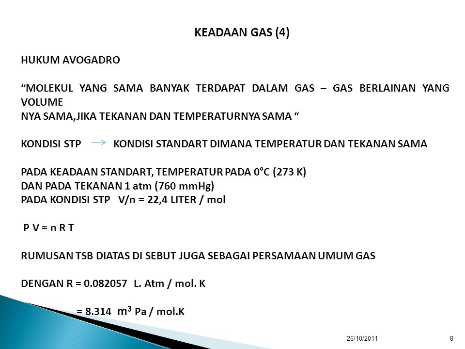 KEADAAN GAS (4) HUKUM AVOGADRO