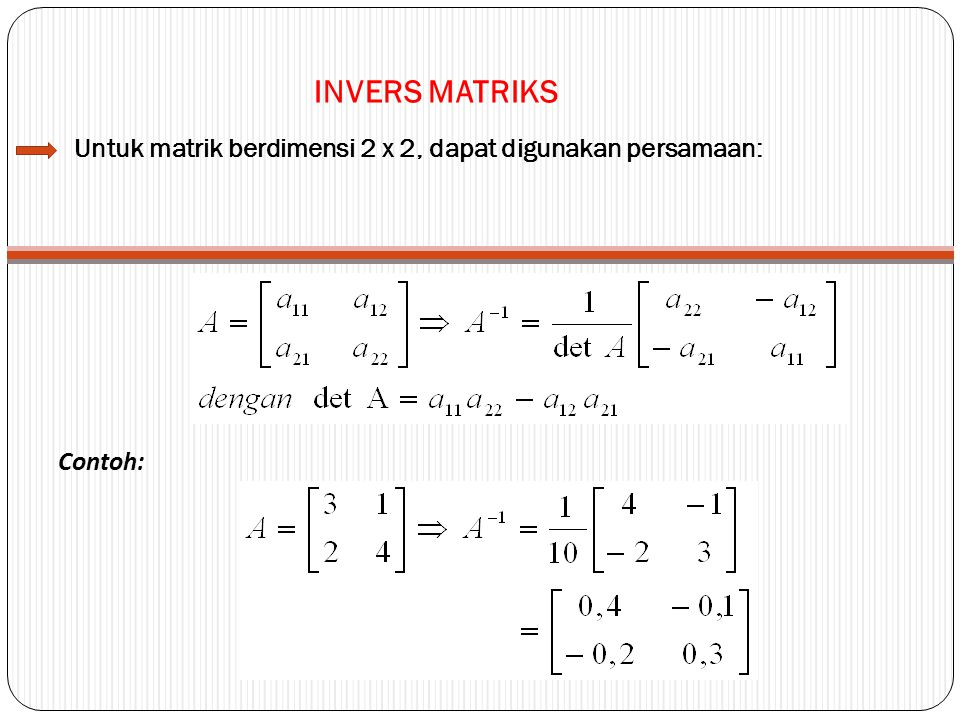 INVERS MATRIKS Untuk matrik berdimensi 2 x 2, dapat digunakan persamaan: Contoh:
