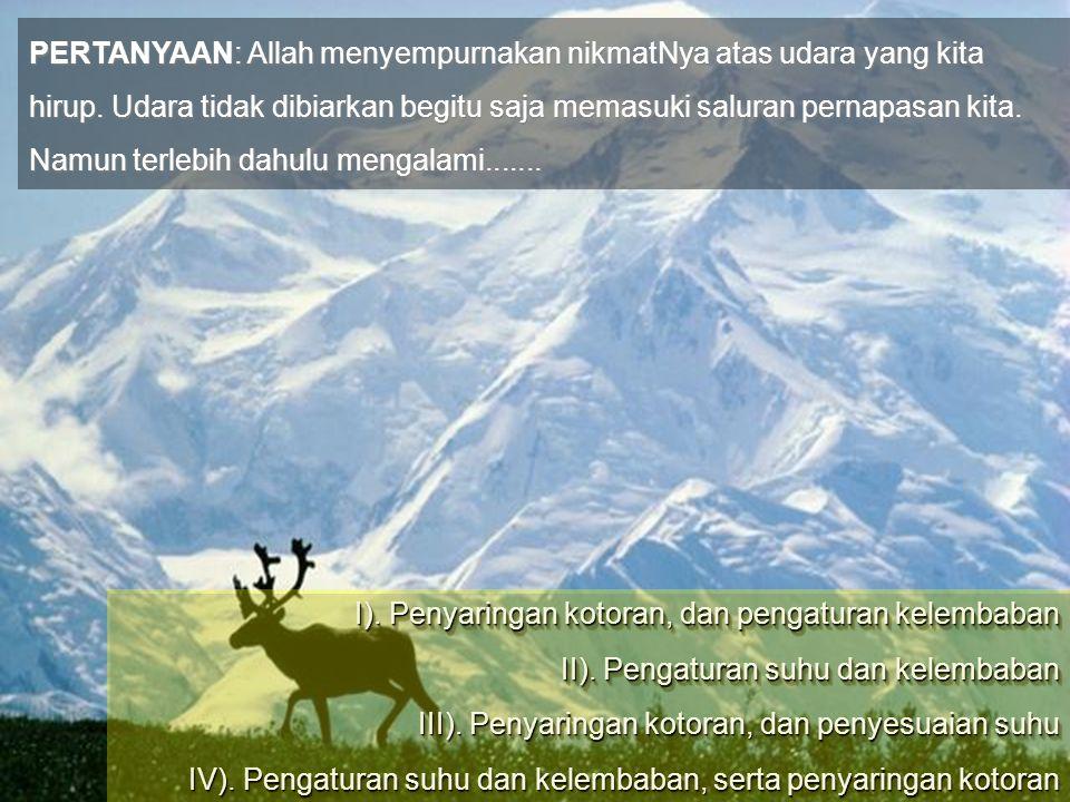 PERTANYAAN: Allah menyempurnakan nikmatNya atas udara yang kita hirup