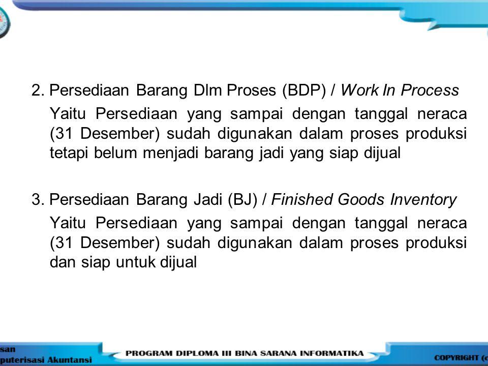 2. Persediaan Barang Dlm Proses (BDP) / Work In Process