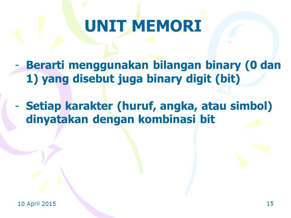 UNIT MEMORI Berarti menggunakan bilangan binary (0 dan 1) yang disebut juga binary digit (bit)