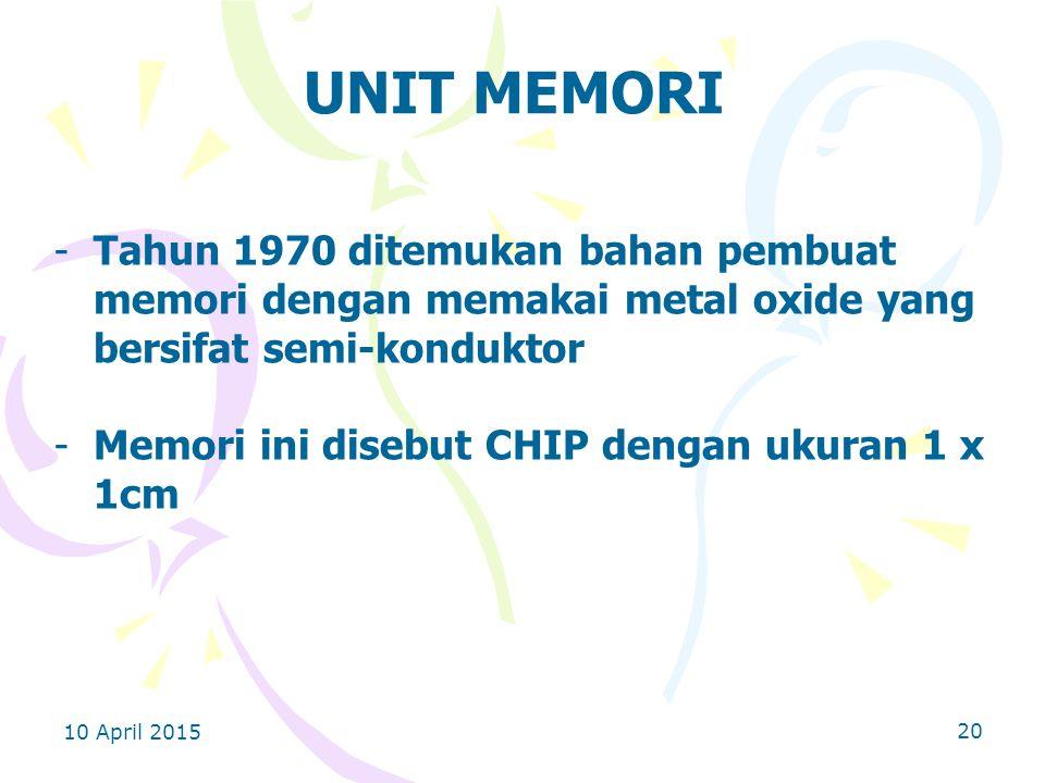 UNIT MEMORI Tahun 1970 ditemukan bahan pembuat memori dengan memakai metal oxide yang bersifat semi-konduktor.