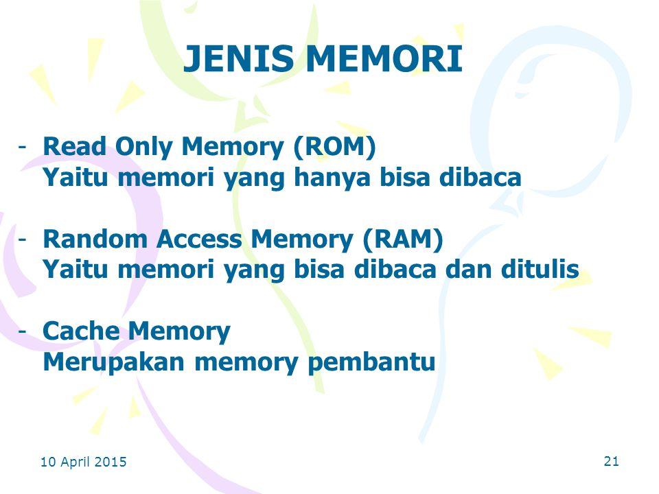 JENIS MEMORI Read Only Memory (ROM)