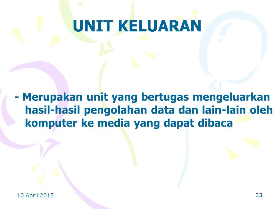 UNIT KELUARAN - Merupakan unit yang bertugas mengeluarkan hasil-hasil pengolahan data dan lain-lain oleh komputer ke media yang dapat dibaca.