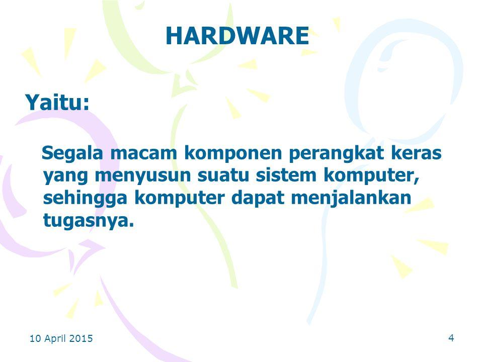 HARDWARE Yaitu: Segala macam komponen perangkat keras yang menyusun suatu sistem komputer, sehingga komputer dapat menjalankan tugasnya.