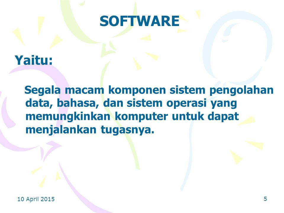 SOFTWARE Yaitu: