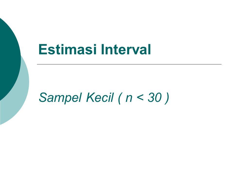 Estimasi Interval Sampel Kecil ( n < 30 )