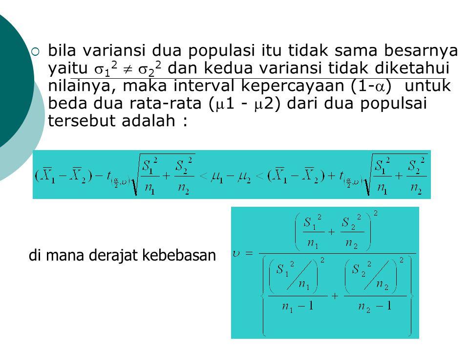bila variansi dua populasi itu tidak sama besarnya yaitu 12  22 dan kedua variansi tidak diketahui nilainya, maka interval kepercayaan (1-) untuk beda dua rata-rata (1 - 2) dari dua populsai tersebut adalah :