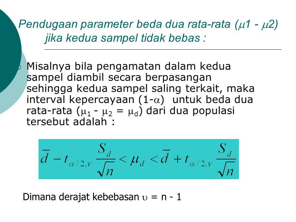 Pendugaan parameter beda dua rata-rata (1 - 2) jika kedua sampel tidak bebas :