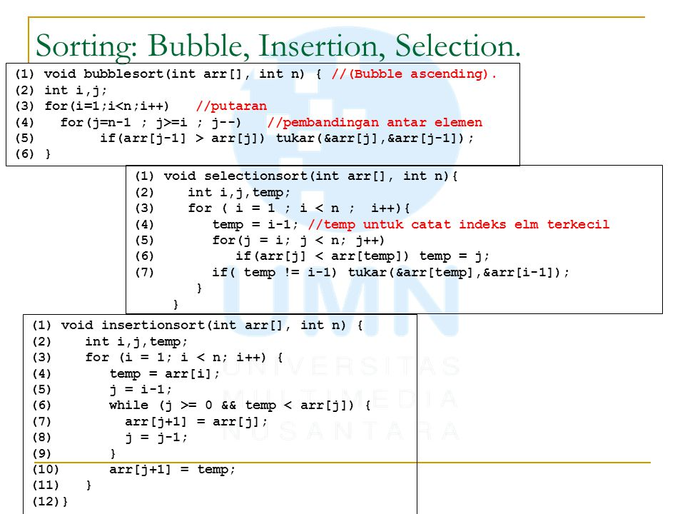Sorting: Bubble, Insertion, Selection.