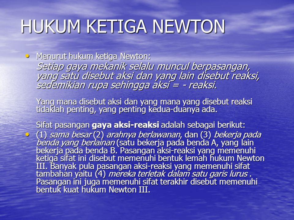 HUKUM KETIGA NEWTON