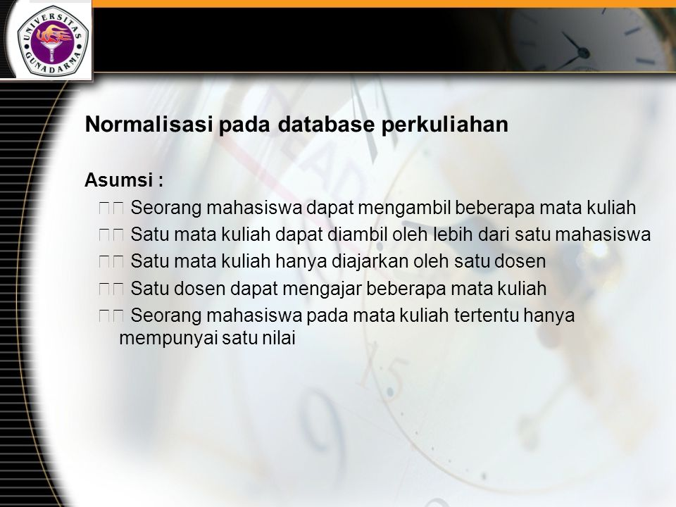 Normalisasi pada database perkuliahan