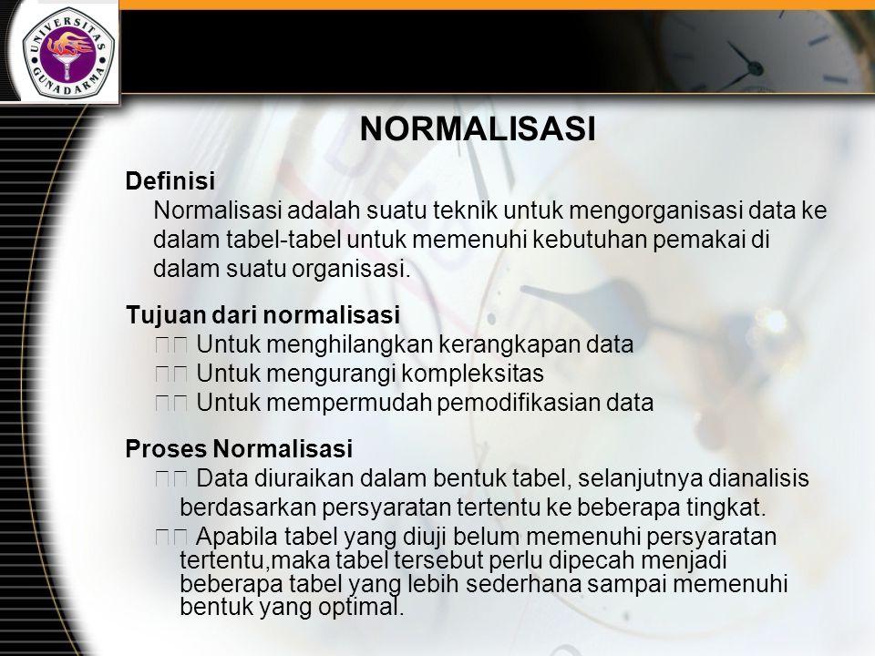 NORMALISASI Definisi. Normalisasi adalah suatu teknik untuk mengorganisasi data ke. dalam tabel-tabel untuk memenuhi kebutuhan pemakai di.