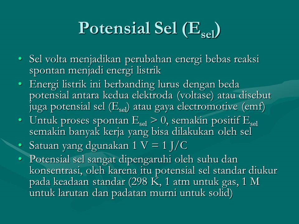 Potensial Sel (Esel) Sel volta menjadikan perubahan energi bebas reaksi spontan menjadi energi listrik.