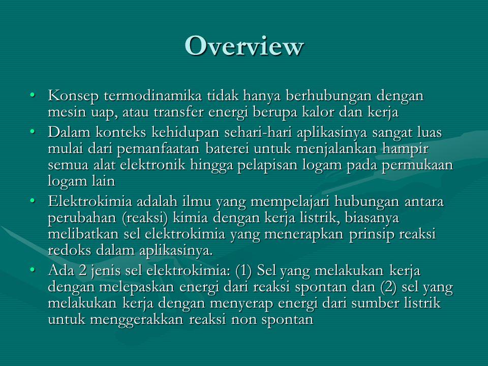 Overview Konsep termodinamika tidak hanya berhubungan dengan mesin uap, atau transfer energi berupa kalor dan kerja.