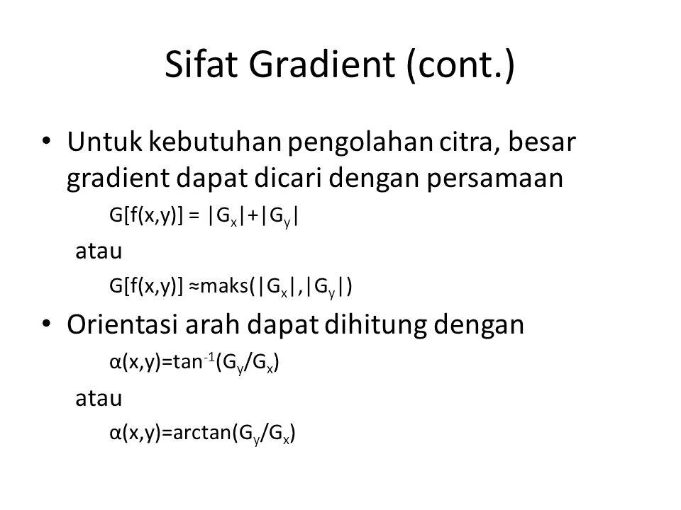 Sifat Gradient (cont.) Untuk kebutuhan pengolahan citra, besar gradient dapat dicari dengan persamaan.