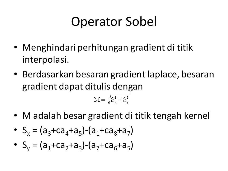 Operator Sobel Menghindari perhitungan gradient di titik interpolasi.