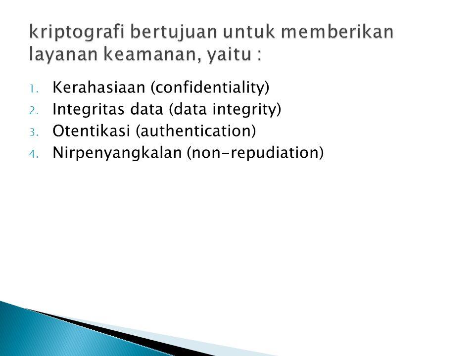 kriptografi bertujuan untuk memberikan layanan keamanan, yaitu :