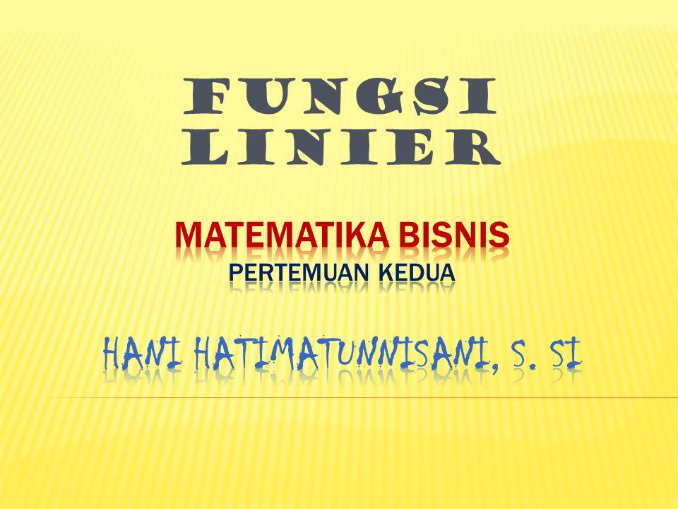 MATEMATIKA BISNIS PERTEMUAN kedua Hani Hatimatunnisani, S. Si