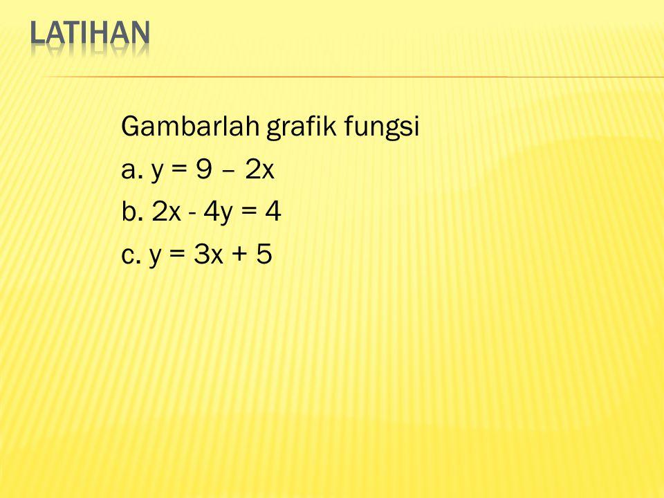 latihan Gambarlah grafik fungsi a. y = 9 – 2x b. 2x - 4y = 4 c. y = 3x + 5