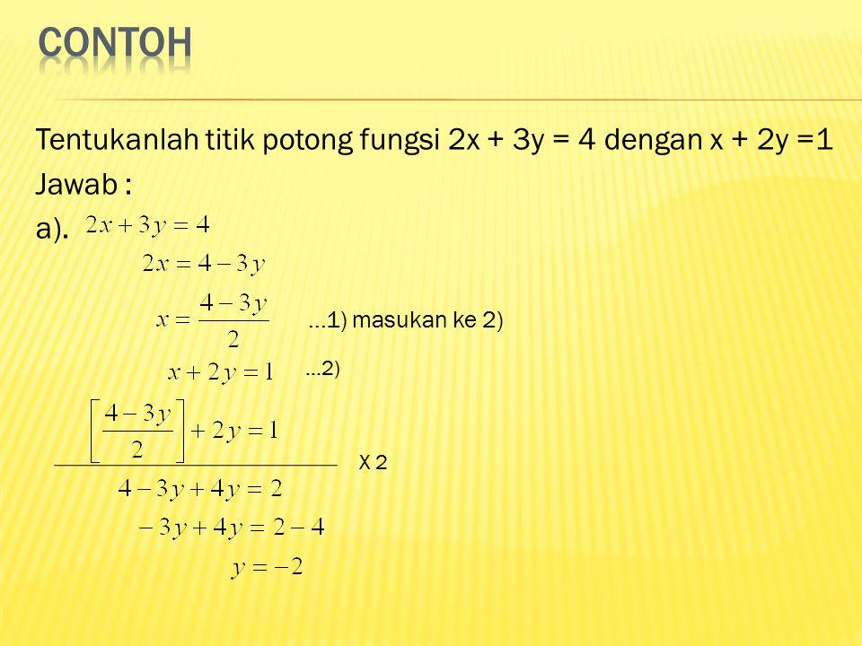 contoh Tentukanlah titik potong fungsi 2x + 3y = 4 dengan x + 2y =1 Jawab : a). ...1) masukan ke 2)
