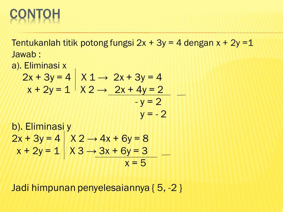 contoh 2x + 3y = 4 X 1 → 2x + 3y = 4 x + 2y = 1 X 2 → 2x + 4y = 2