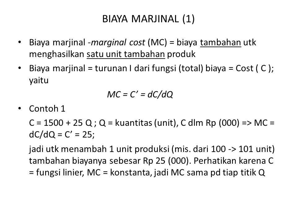 BIAYA MARJINAL (1) Biaya marjinal -marginal cost (MC) = biaya tambahan utk menghasilkan satu unit tambahan produk.
