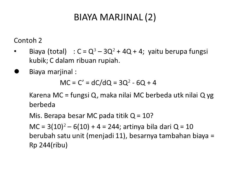 BIAYA MARJINAL (2) Contoh 2. Biaya (total) : C = Q3 – 3Q2 + 4Q + 4; yaitu berupa fungsi kubik; C dalam ribuan rupiah.