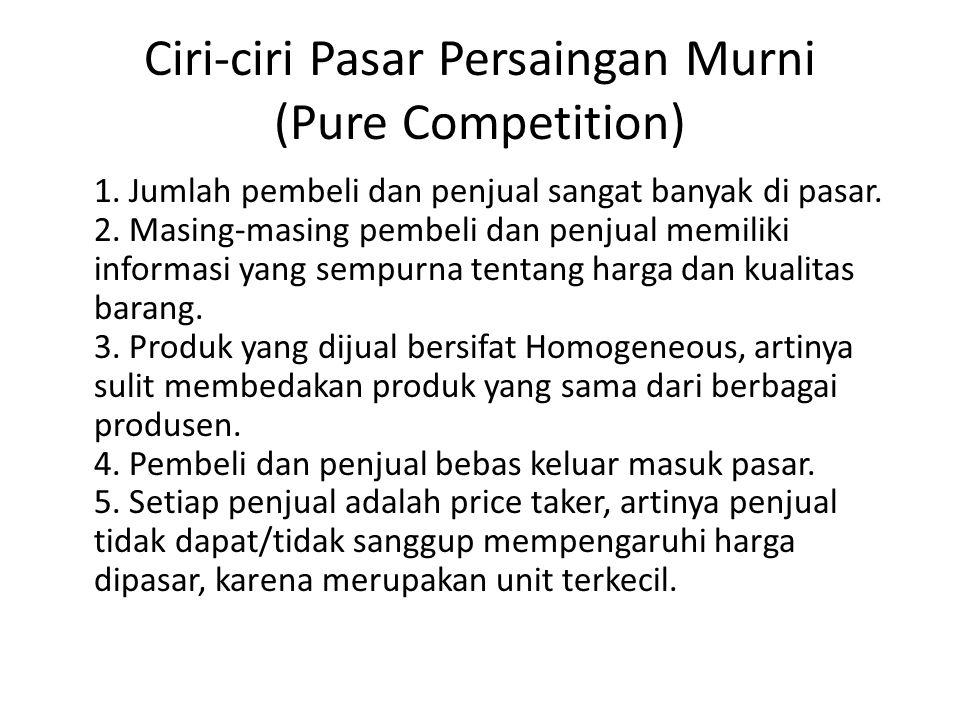 Ciri-ciri Pasar Persaingan Murni (Pure Competition)