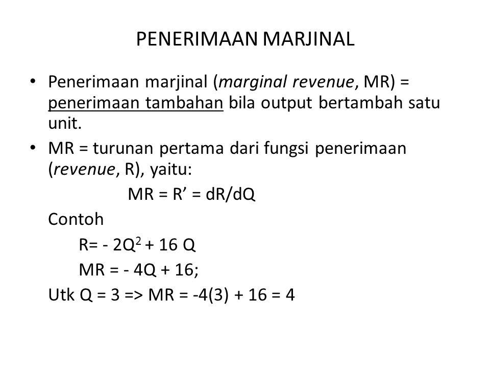 PENERIMAAN MARJINAL Penerimaan marjinal (marginal revenue, MR) = penerimaan tambahan bila output bertambah satu unit.