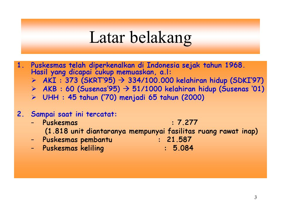 Latar belakang Puskesmas telah diperkenalkan di Indonesia sejak tahun 1968. Hasil yang dicapai cukup memuaskan, a.l: