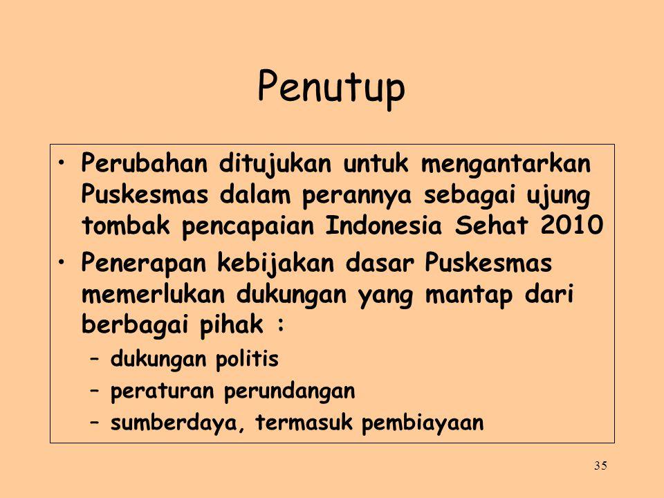 Penutup Perubahan ditujukan untuk mengantarkan Puskesmas dalam perannya sebagai ujung tombak pencapaian Indonesia Sehat 2010.