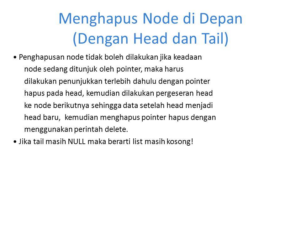Menghapus Node di Depan (Dengan Head dan Tail)