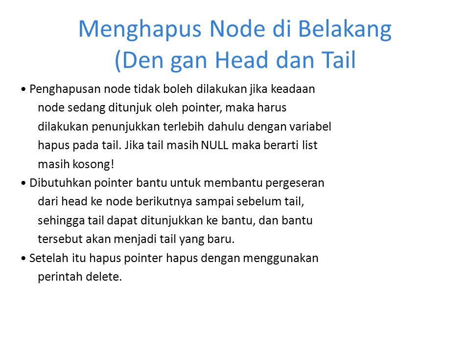 Menghapus Node di Belakang (Den gan Head dan Tail