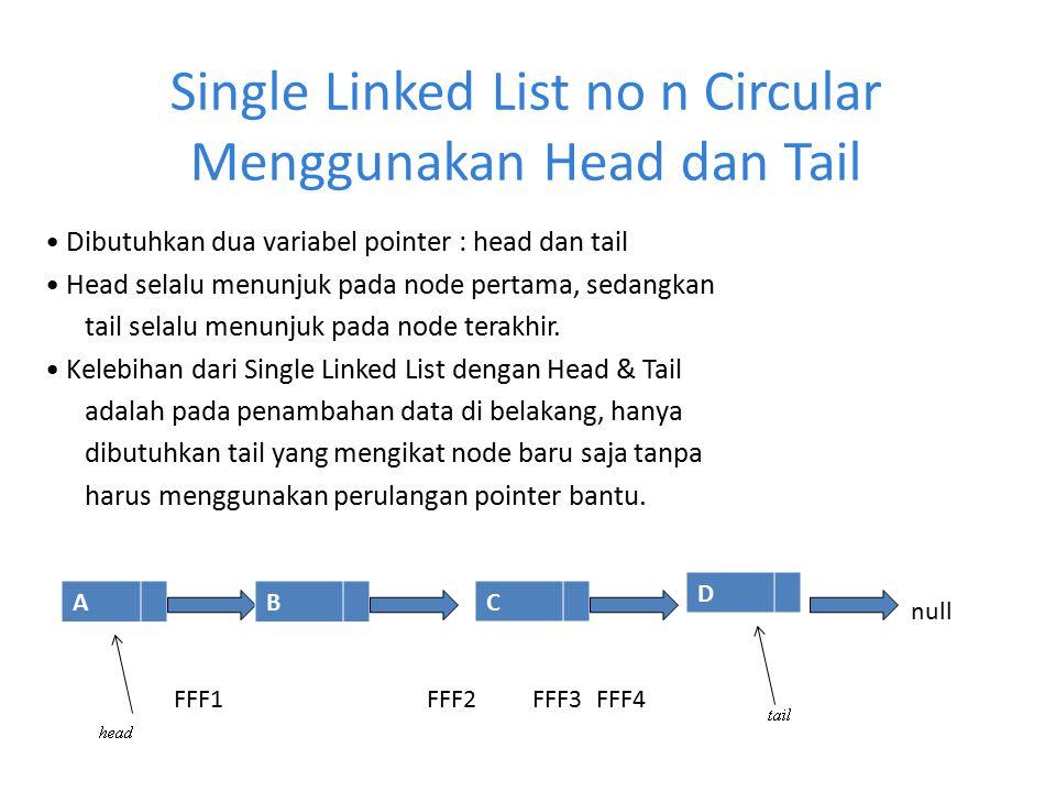Single Linked List no n Circular Menggunakan Head dan Tail