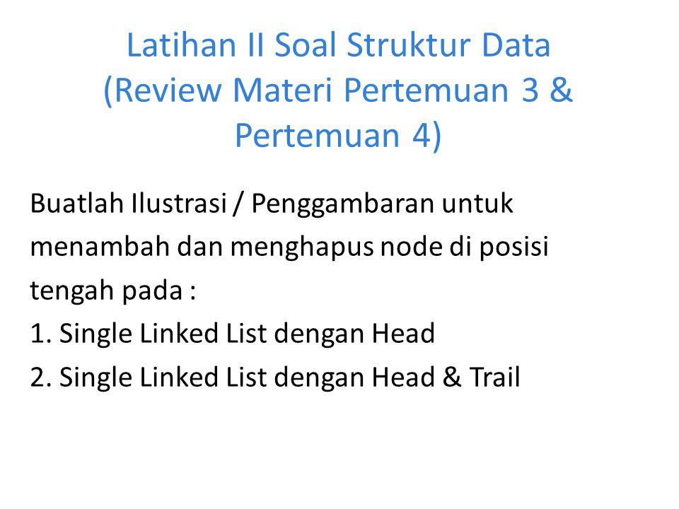 Latihan II Soal Struktur Data (Review Materi Pertemuan 3 & Pertemuan 4)