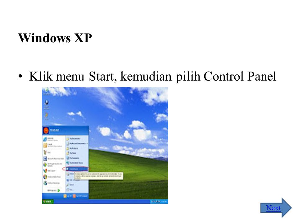 Klik menu Start, kemudian pilih Control Panel
