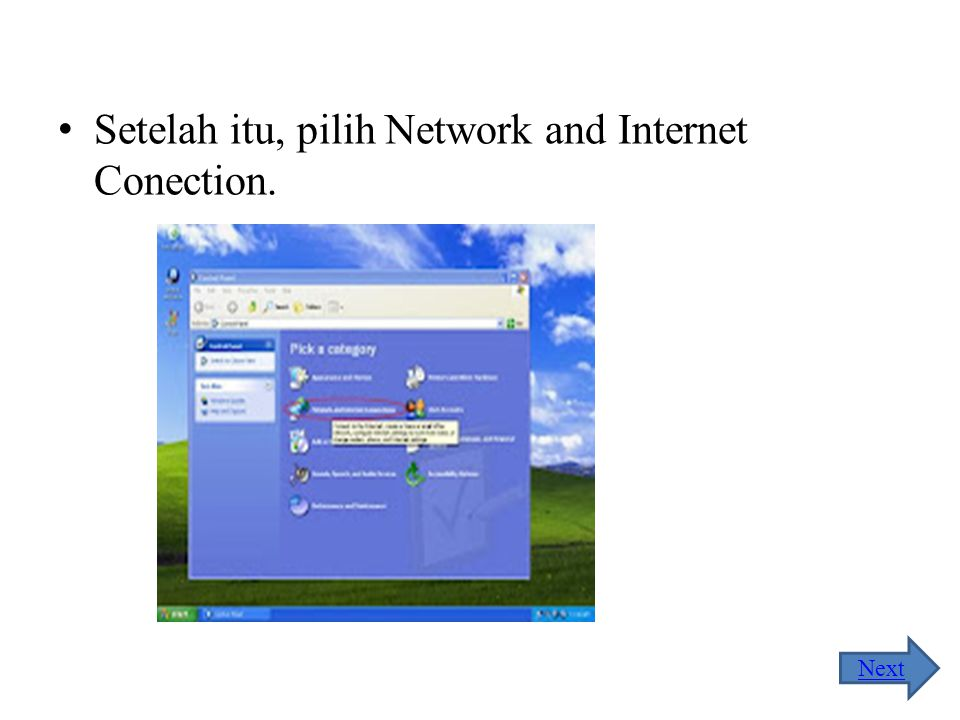 Setelah itu, pilih Network and Internet Conection.