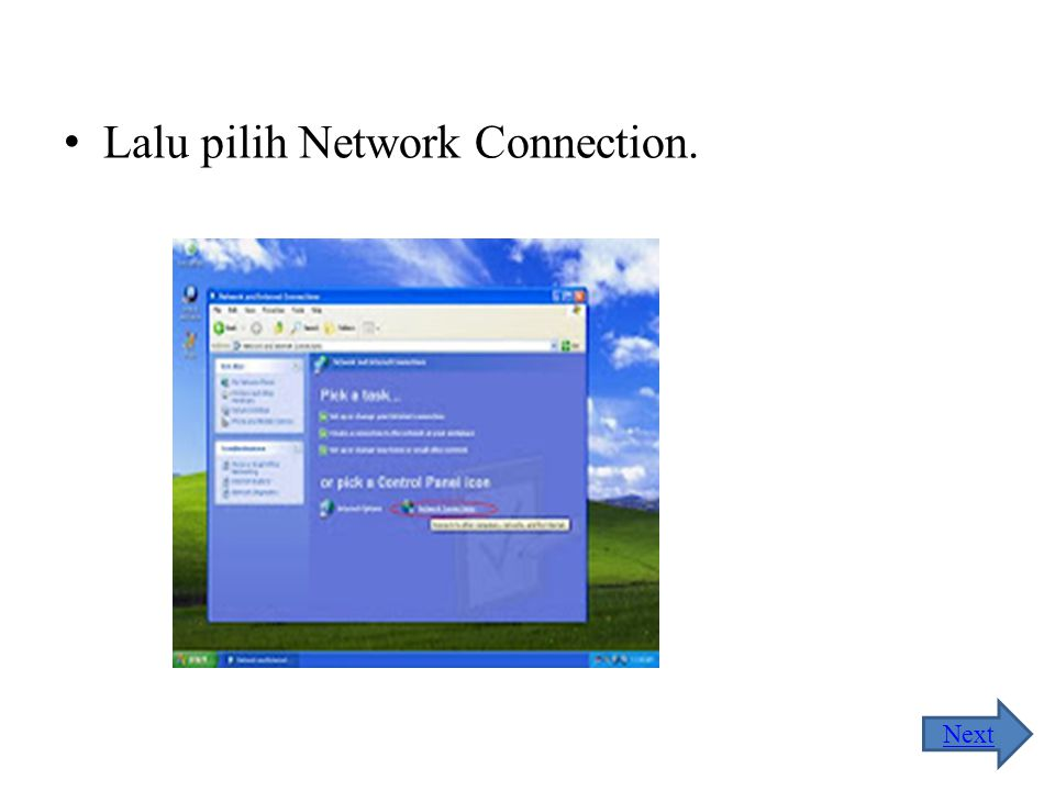 Lalu pilih Network Connection.