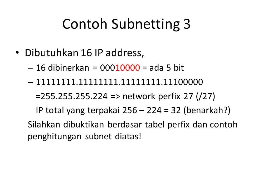Contoh Subnetting 3 Dibutuhkan 16 IP address,