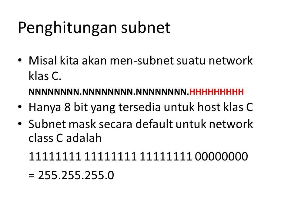 Penghitungan subnet Misal kita akan men-subnet suatu network klas C.