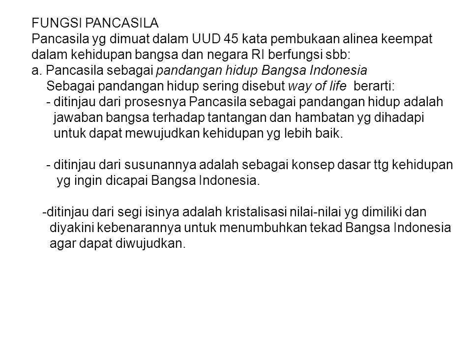 FUNGSI PANCASILA Pancasila yg dimuat dalam UUD 45 kata pembukaan alinea keempat. dalam kehidupan bangsa dan negara RI berfungsi sbb: