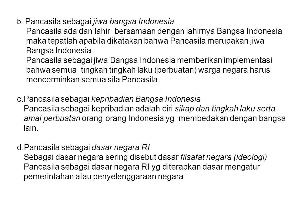 Pancasila ada dan lahir bersamaan dengan lahirnya Bangsa Indonesia