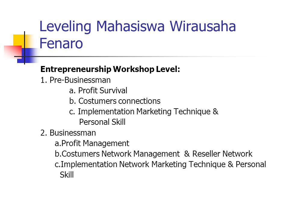 Leveling Mahasiswa Wirausaha Fenaro