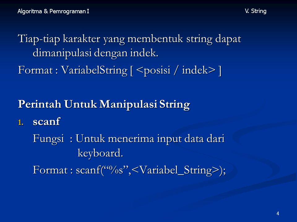 Tiap-tiap karakter yang membentuk string dapat dimanipulasi dengan indek.