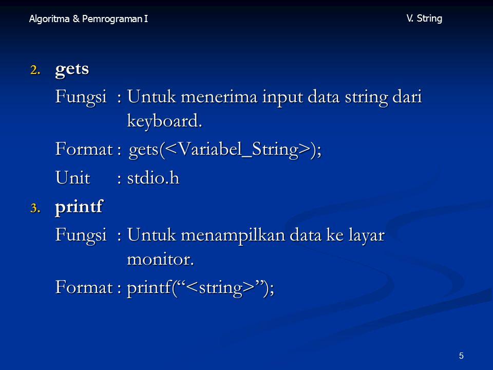 gets Fungsi : Untuk menerima input data string dari keyboard. Format : gets(<Variabel_String>);