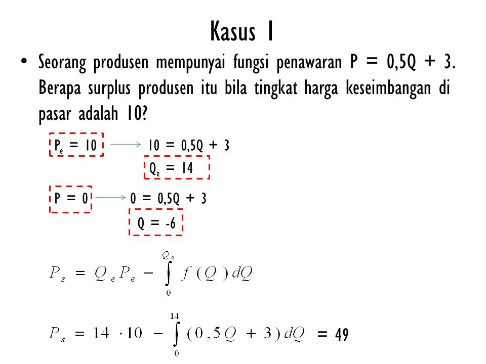 Kasus 1 Seorang produsen mempunyai fungsi penawaran P = 0,5Q + 3. Berapa surplus produsen itu bila tingkat harga keseimbangan di pasar adalah 10