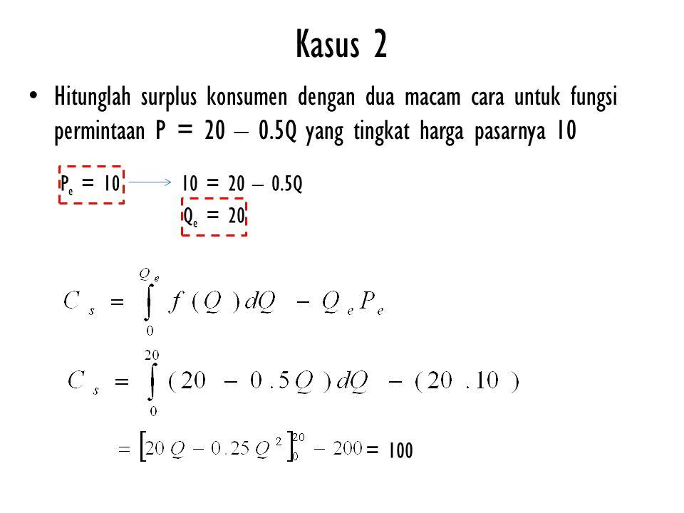 Kasus 2 Hitunglah surplus konsumen dengan dua macam cara untuk fungsi permintaan P = 20 – 0.5Q yang tingkat harga pasarnya 10.