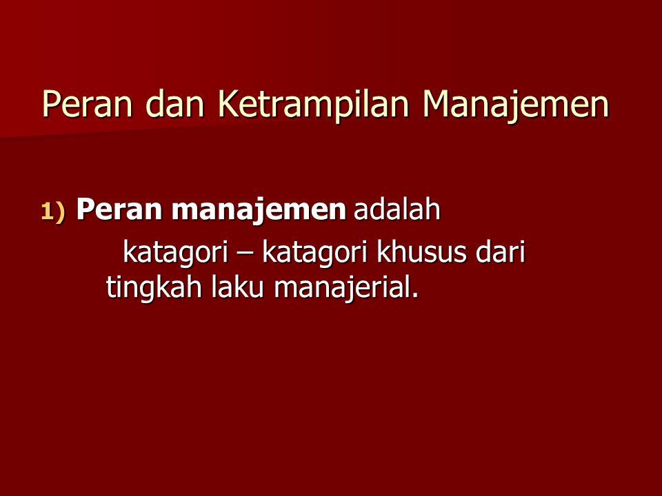 Peran dan Ketrampilan Manajemen