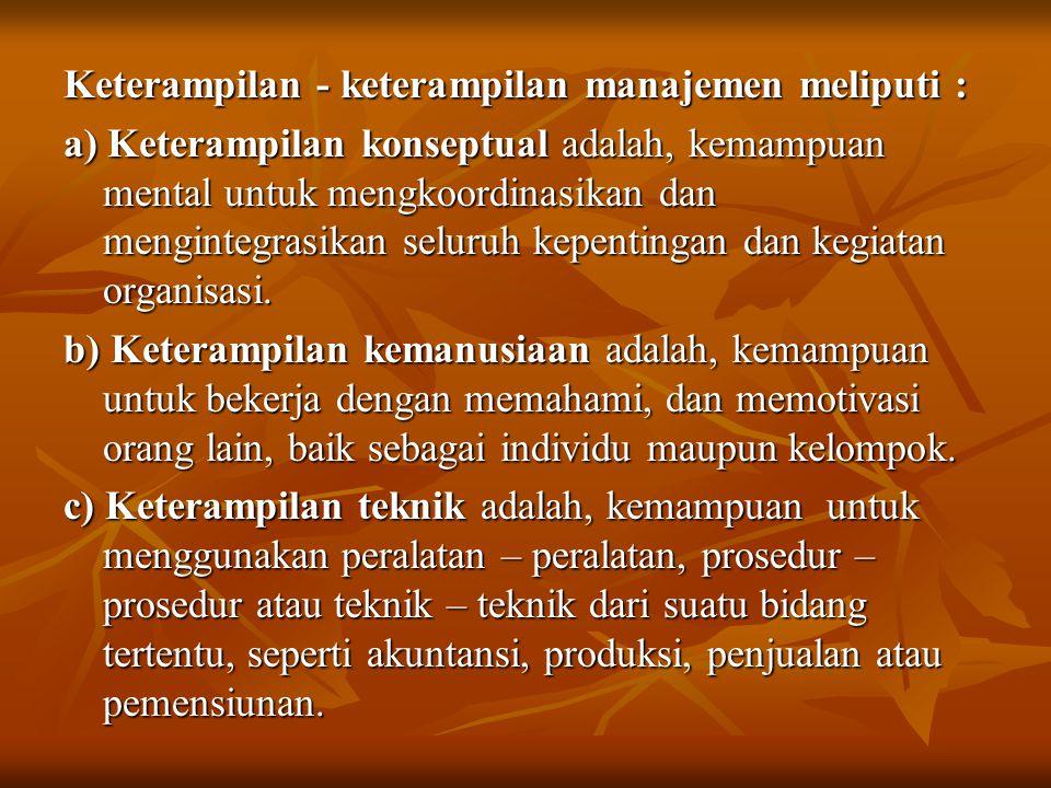 Keterampilan - keterampilan manajemen meliputi :